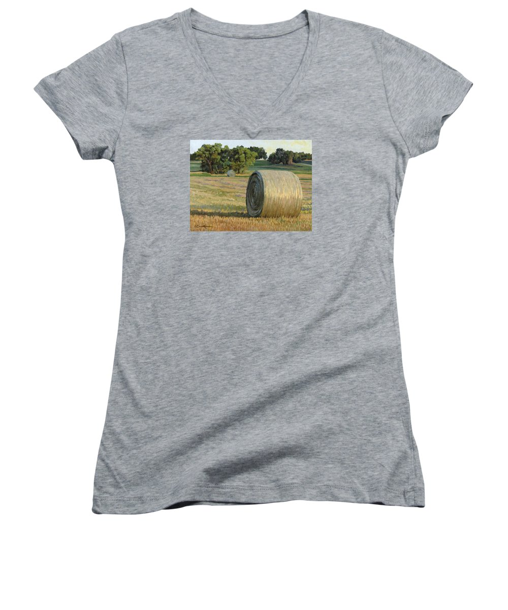Landscape Women's V-Neck (Athletic Fit) featuring the painting August Bales by Bruce Morrison