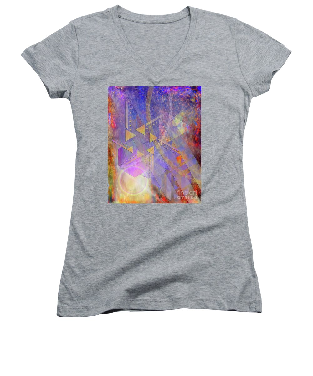 Aurora Aperture Women's V-Neck (Athletic Fit) featuring the digital art Aurora Aperture by John Beck