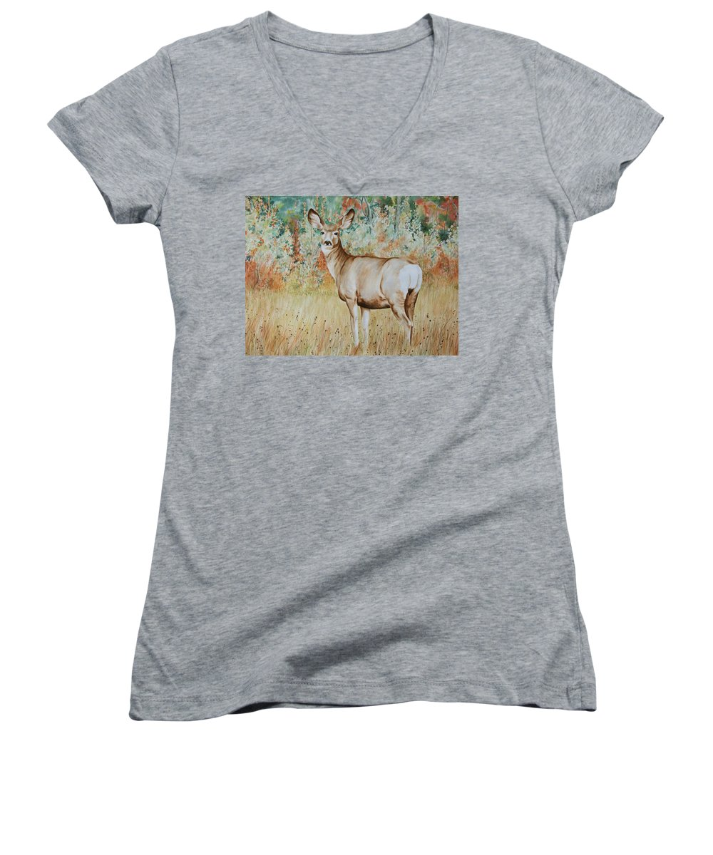 Wildlife Women's V-Neck T-Shirt featuring the painting Autumn Beauty- Mule Deer Doe by Elaine Booth-Kallweit