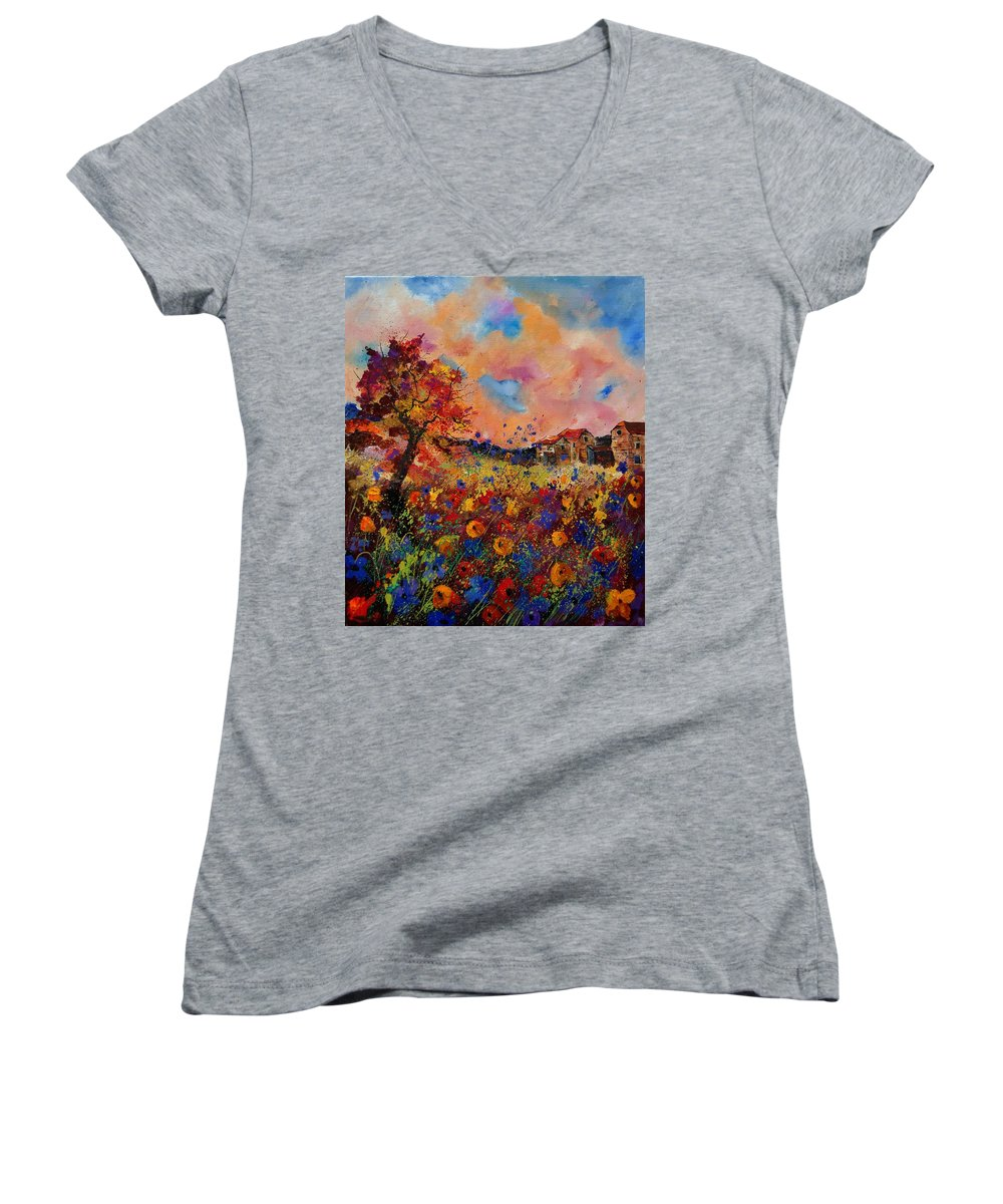 Poppies Women's V-Neck (Athletic Fit) featuring the painting Autumn Colors by Pol Ledent