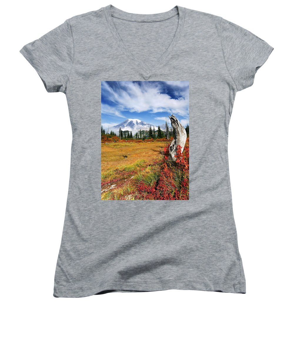 Rainier Women's V-Neck (Athletic Fit) featuring the photograph Autumn Majesty by Mike Dawson