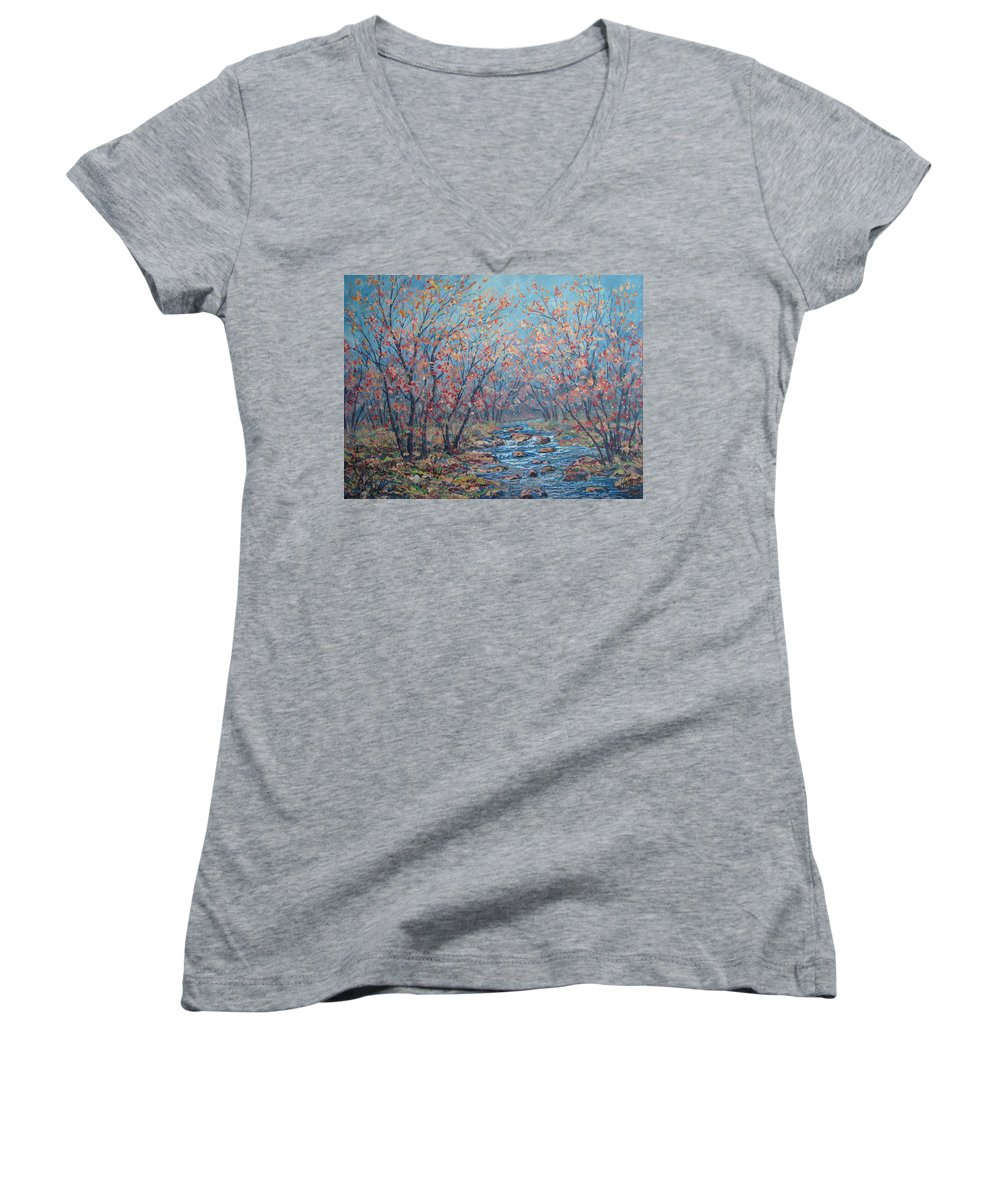 Landscape Women's V-Neck T-Shirt featuring the painting Autumn Serenity by Leonard Holland