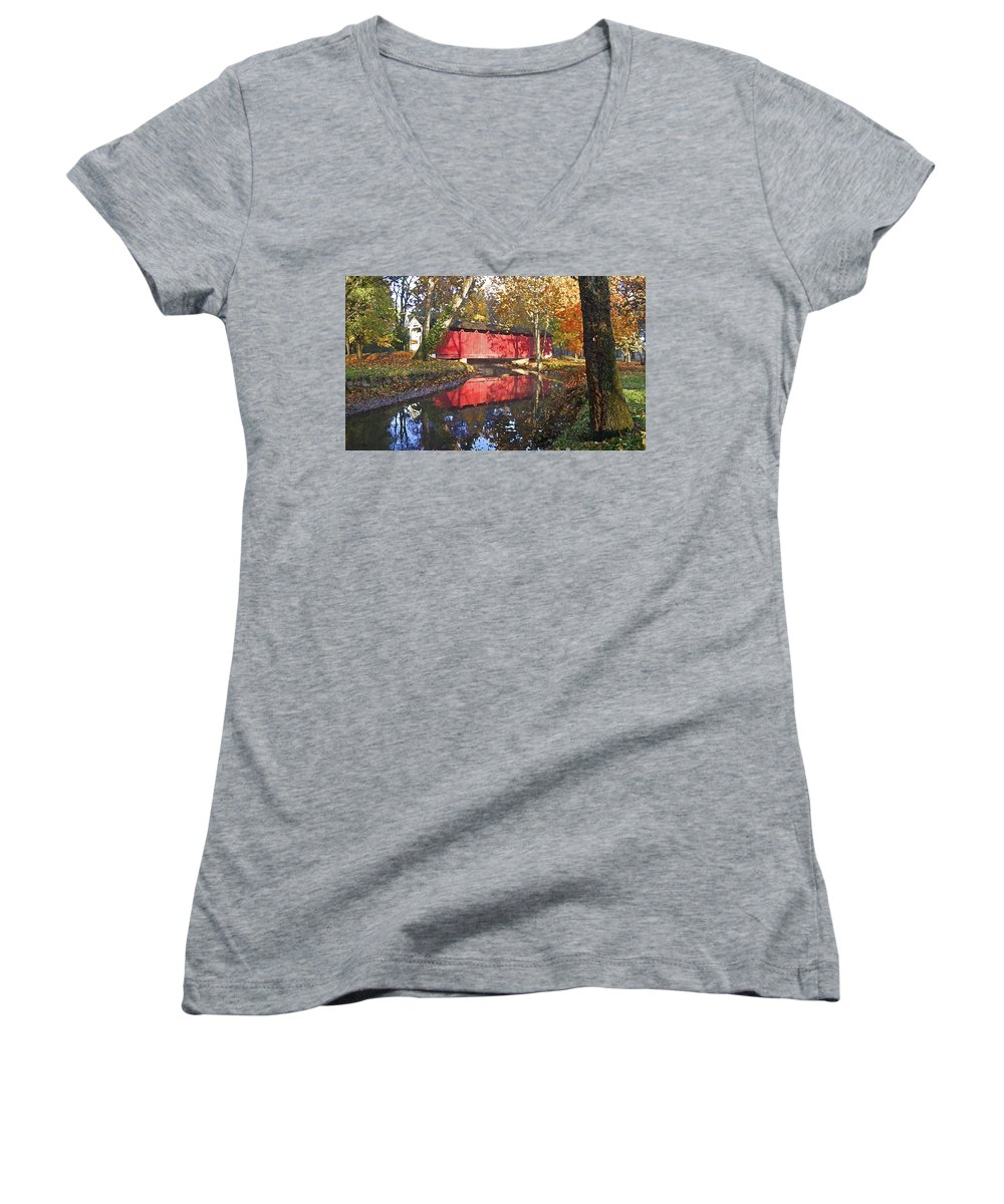 Covered Bridge Women's V-Neck T-Shirt featuring the photograph Autumn Sunrise Bridge by Margie Wildblood