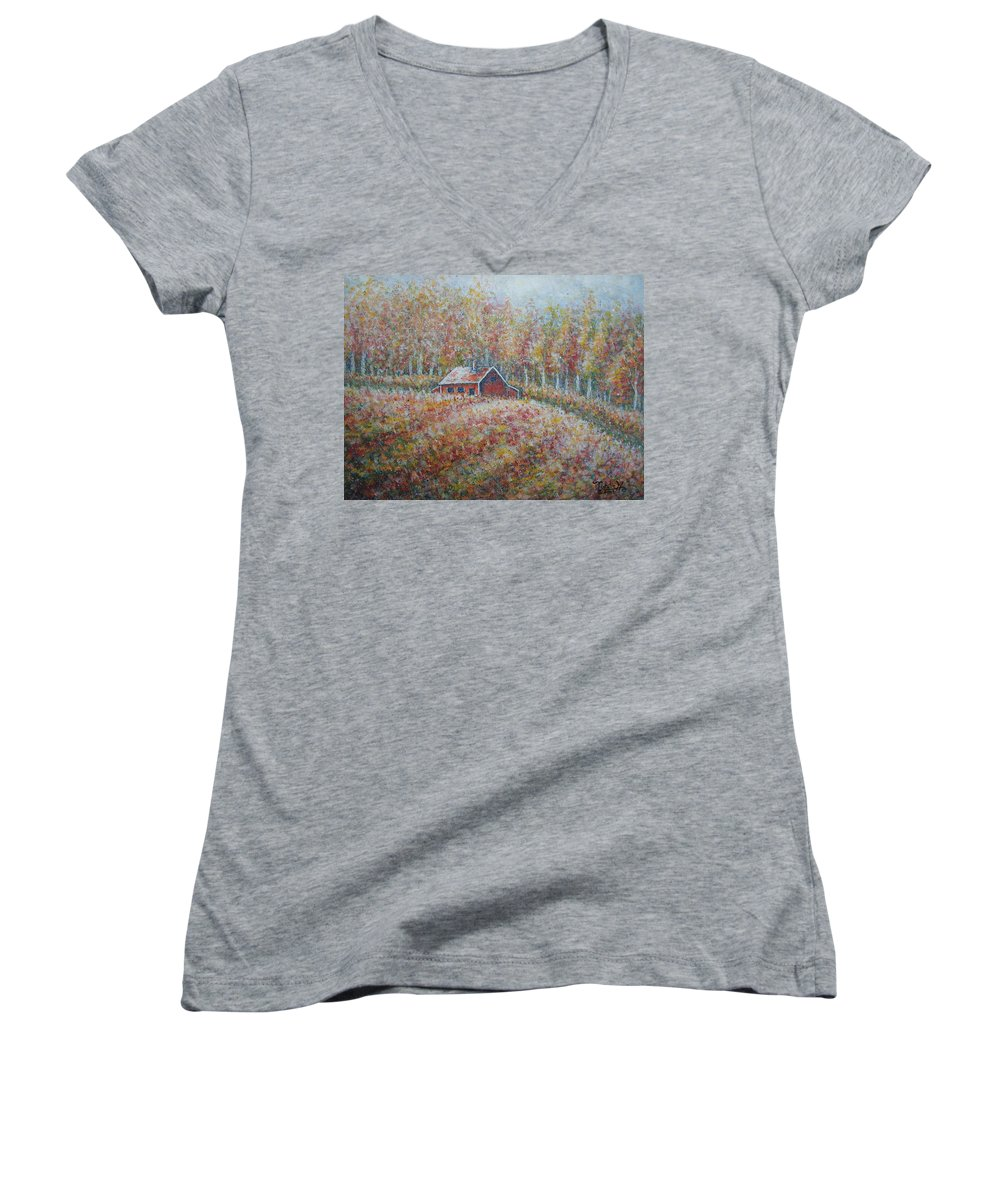 Landscape Women's V-Neck T-Shirt featuring the painting Autumn Whisper. by Natalie Holland