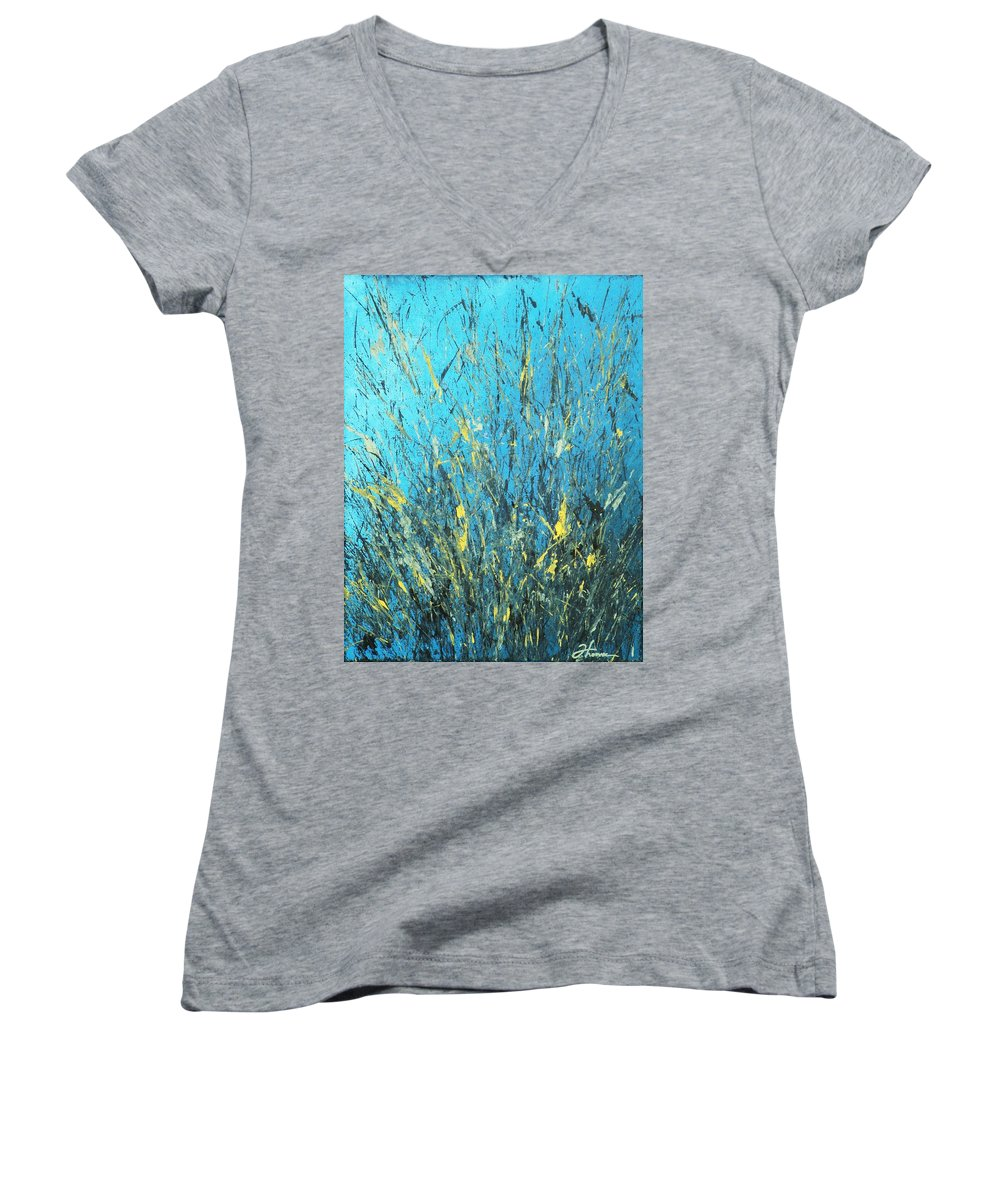 Splash Women's V-Neck (Athletic Fit) featuring the painting Awakening by Todd Hoover