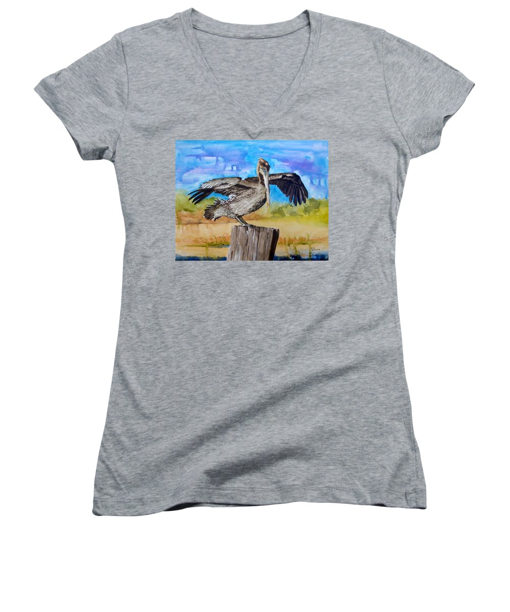 Pelican Women's V-Neck T-Shirt featuring the painting Baby Spreads His Wings by Jean Blackmer