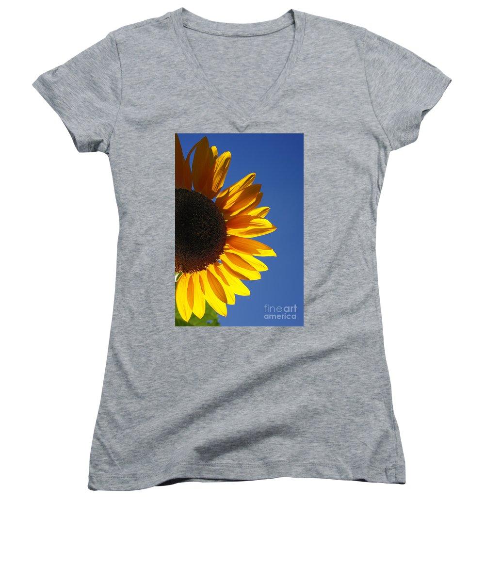 Back Light Women's V-Neck (Athletic Fit) featuring the photograph Backlit Sunflower by Gaspar Avila