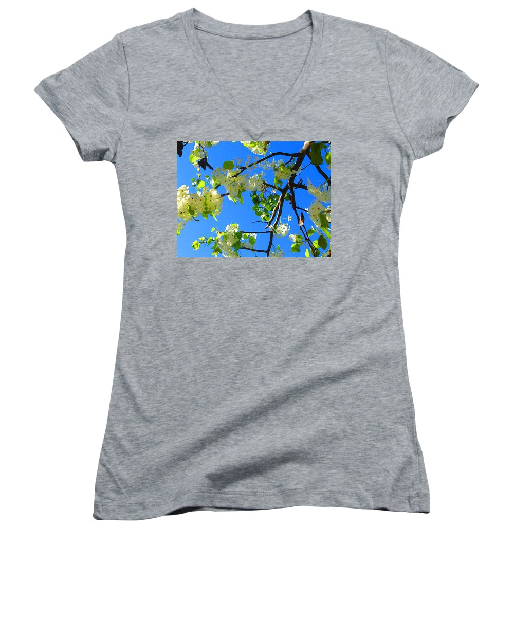 Tree Blossoms Women's V-Neck T-Shirt featuring the painting Backlit White Tree Blossoms by Amy Vangsgard