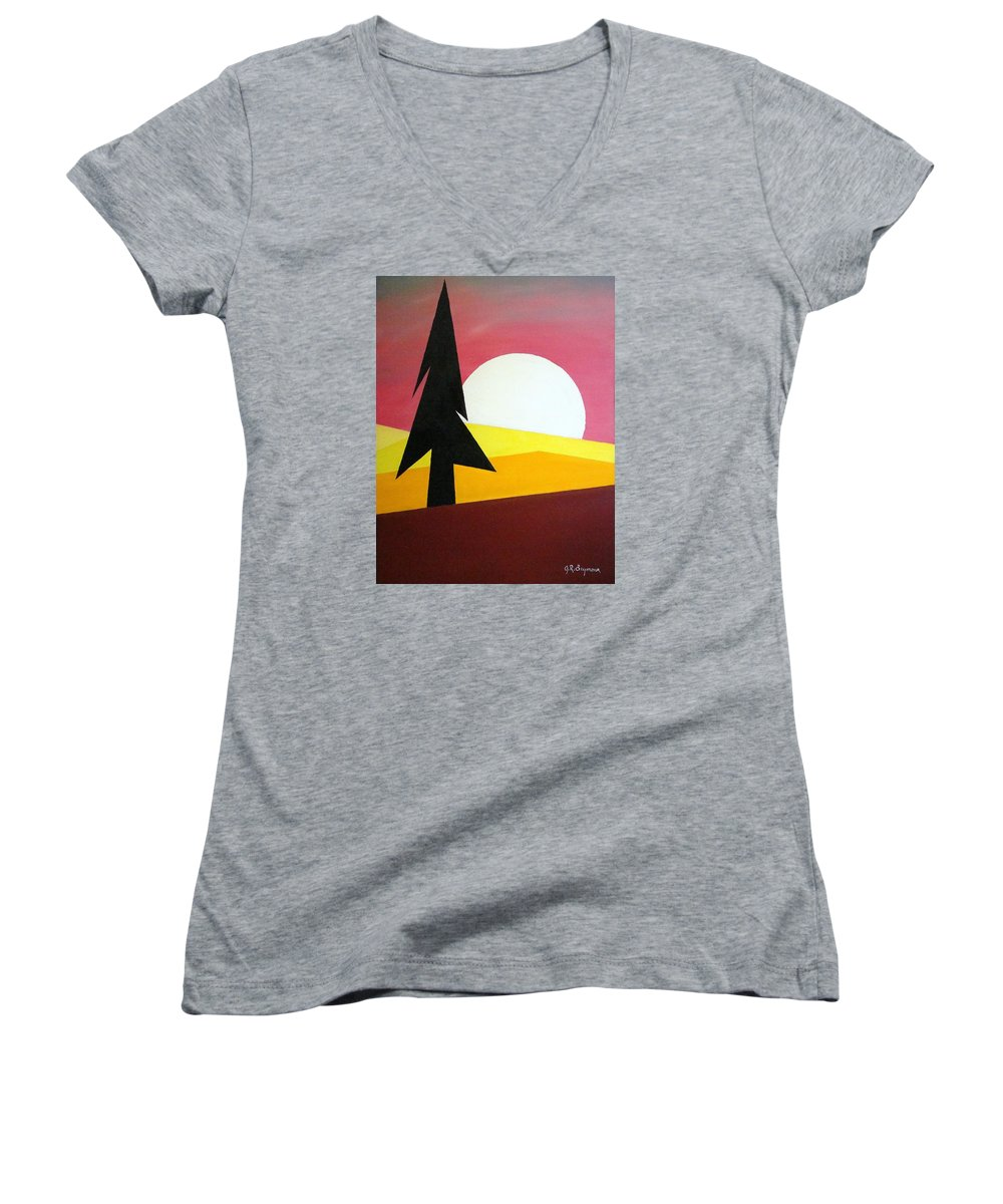 Phases Of The Moon Women's V-Neck (Athletic Fit) featuring the painting Bad Moon Rising by J R Seymour