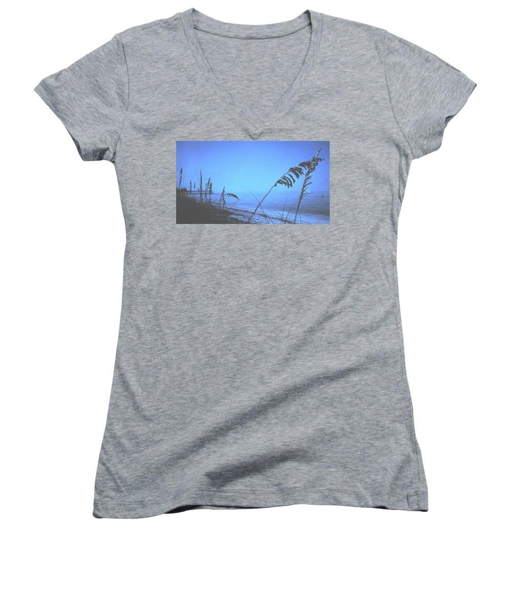 Women's V-Neck T-Shirt featuring the photograph Bahama Blue by Ian MacDonald