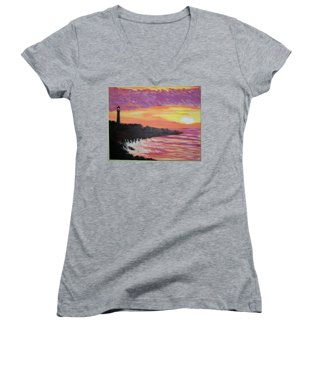 Seascape Women's V-Neck (Athletic Fit) featuring the painting Bahia At Sunset by Marco Morales