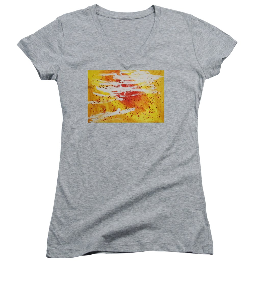 Abstract Women's V-Neck T-Shirt featuring the painting Bailando En El Sol by Lauren Luna