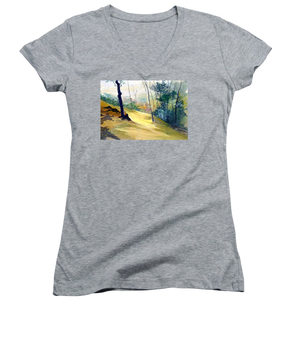 Landscape Women's V-Neck T-Shirt featuring the painting Balance by Anil Nene