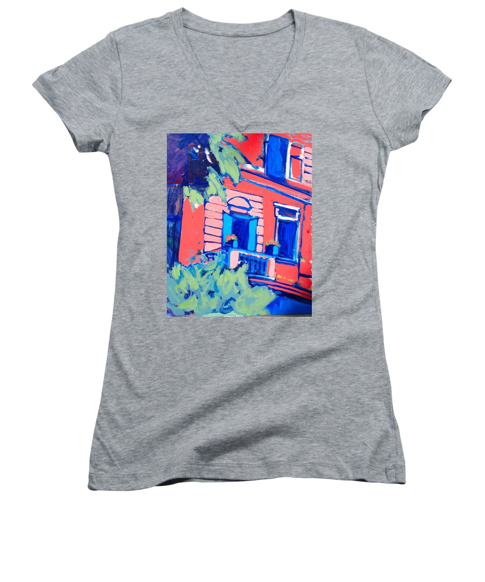 Balcony Women's V-Neck (Athletic Fit) featuring the painting Balcone by Kurt Hausmann