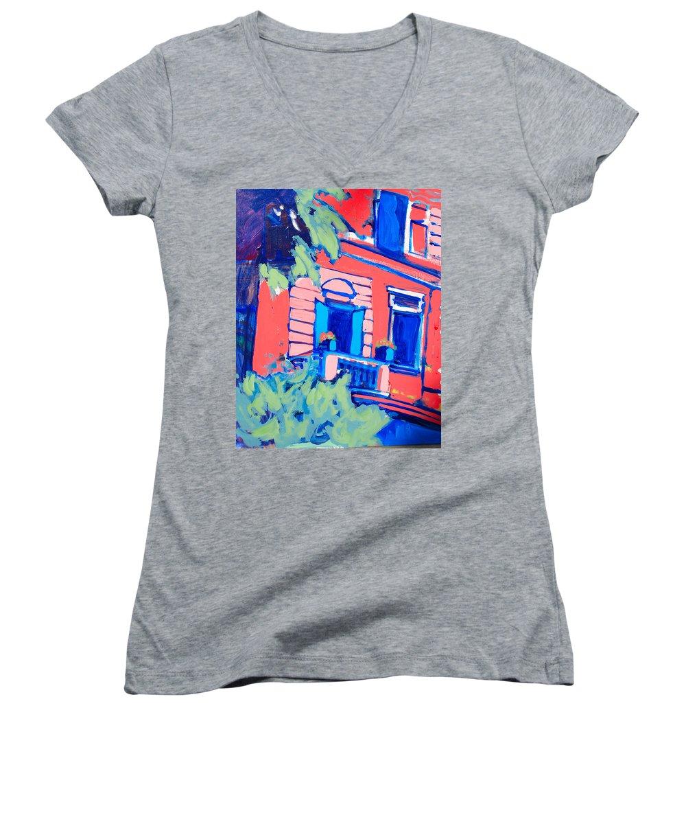 Balcony Women's V-Neck T-Shirt featuring the painting Balcone by Kurt Hausmann