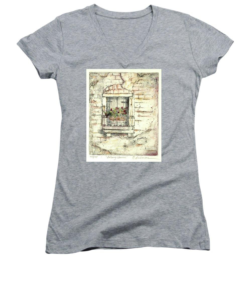 Venice Women's V-Neck T-Shirt featuring the painting Balcony Venice by Richard Bulman