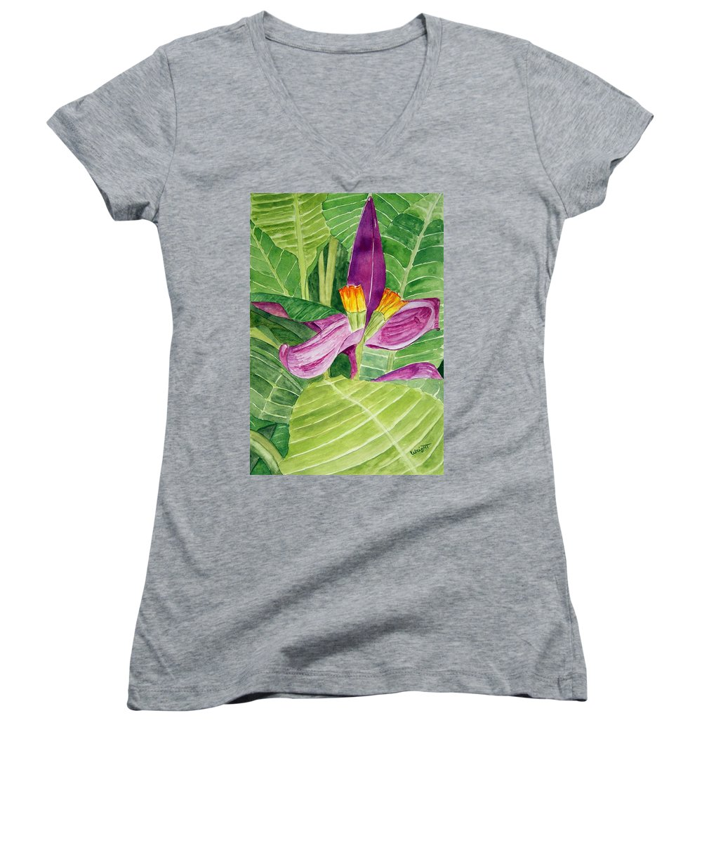 Flower Art Women's V-Neck (Athletic Fit) featuring the painting Bananas In October by Larry Wright