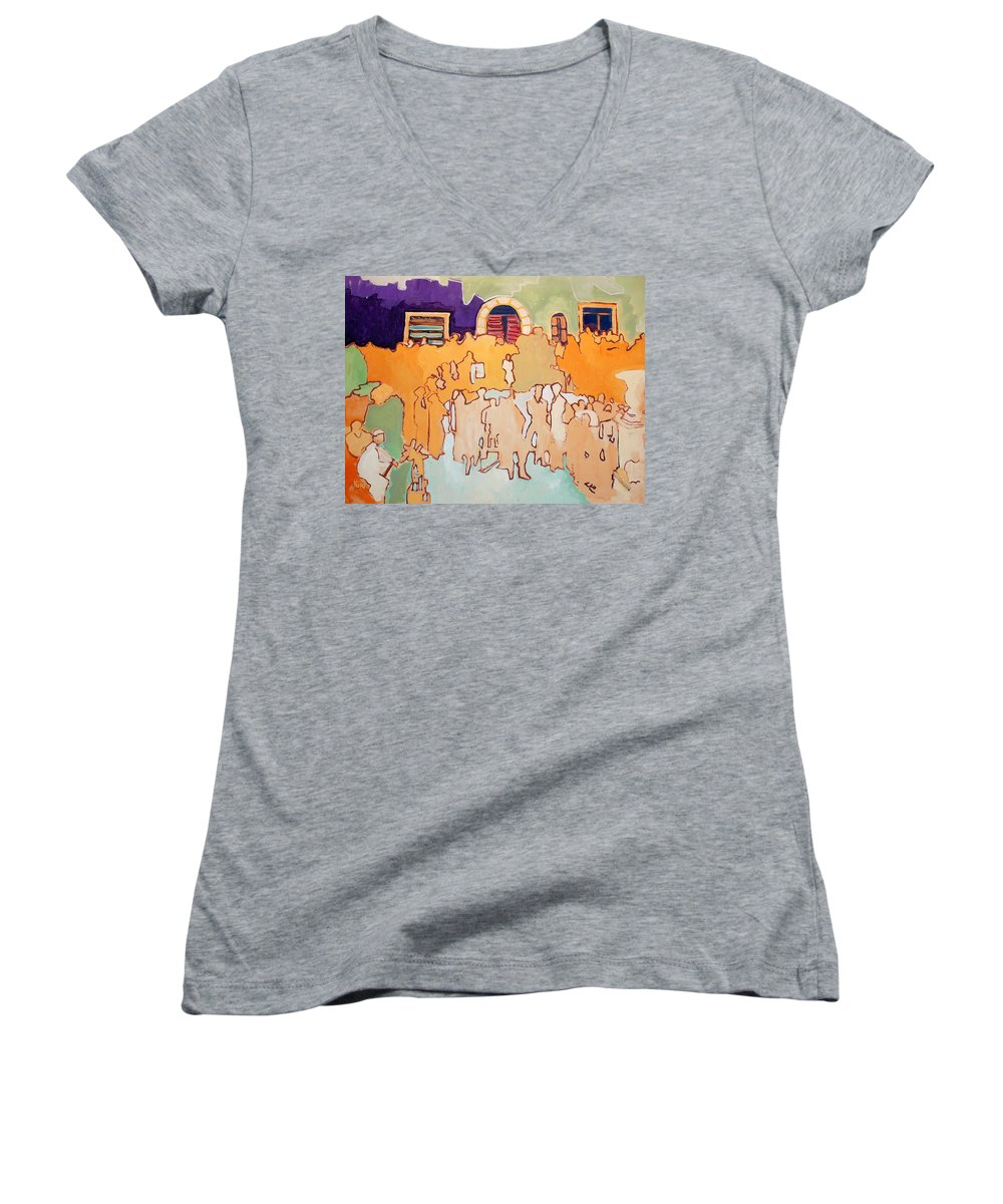 Band Women's V-Neck (Athletic Fit) featuring the painting Banda Di Villaggio by Kurt Hausmann