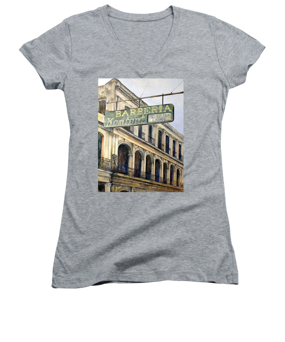 Konfort Barberia Old Havana Cuba Oil Painting Art Urban Cityscape Women's V-Neck T-Shirt featuring the painting Barberia Konfort by Tomas Castano