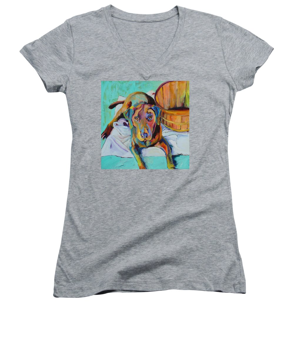 Chocolate Lab Women's V-Neck (Athletic Fit) featuring the painting Basket Retriever by Pat Saunders-White