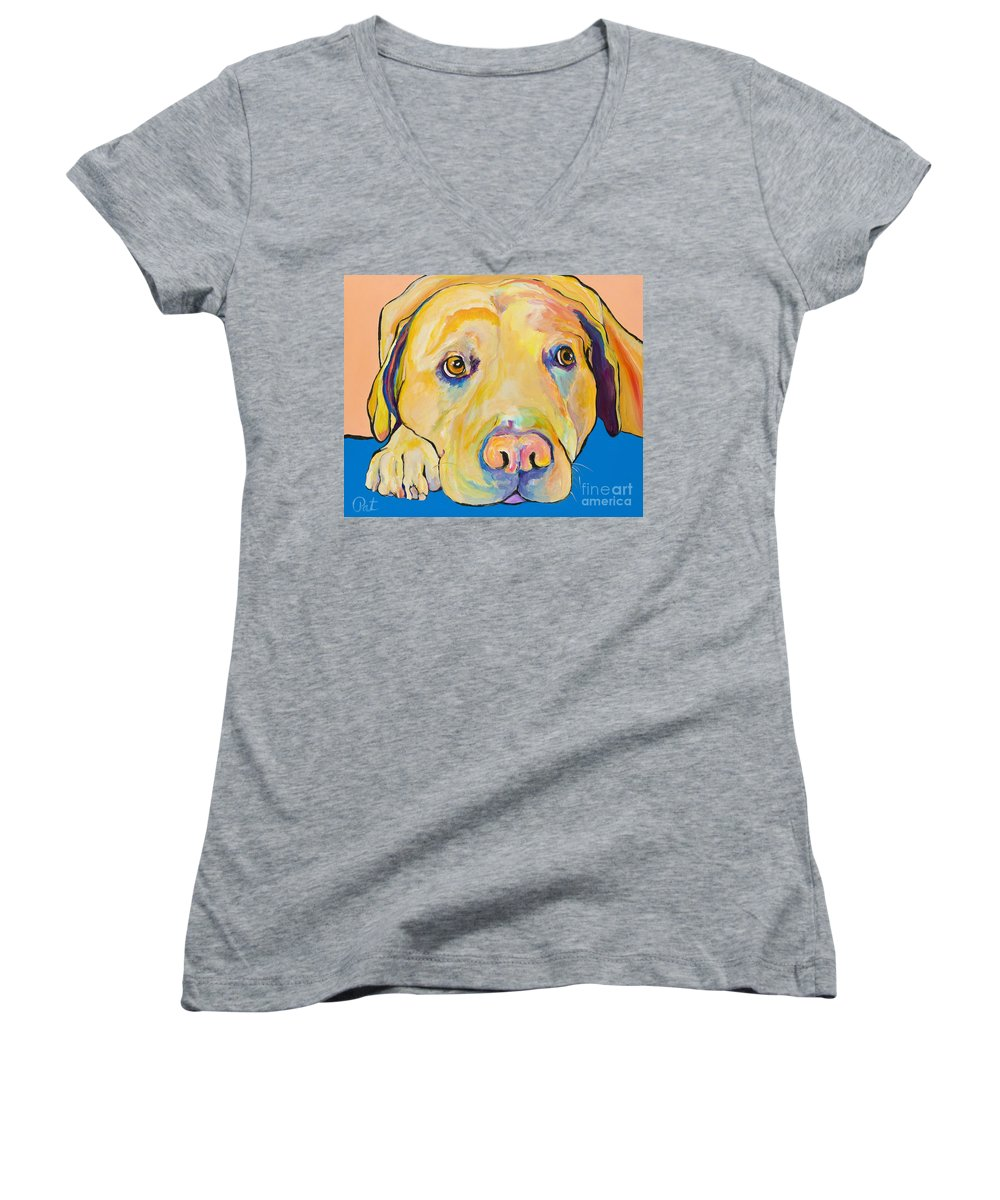 Dog Paintings Yellow Lab Puppy Colorful Animals Pets Women's V-Neck T-Shirt featuring the painting Bath Time by Pat Saunders-White