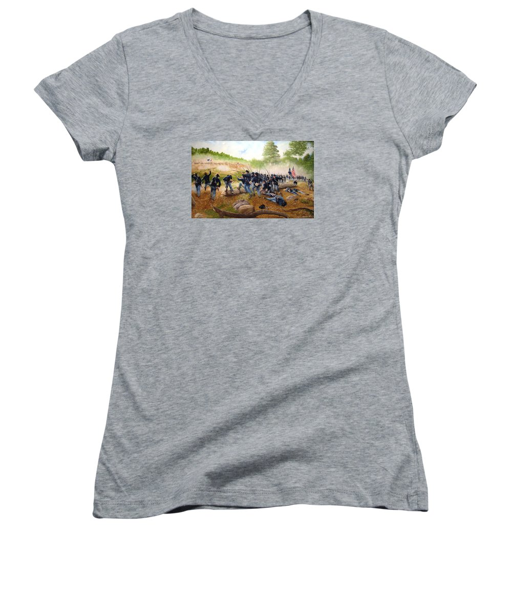 Civil War Women's V-Neck T-Shirt featuring the painting Battle Of Utoy Creek by Marc Stewart
