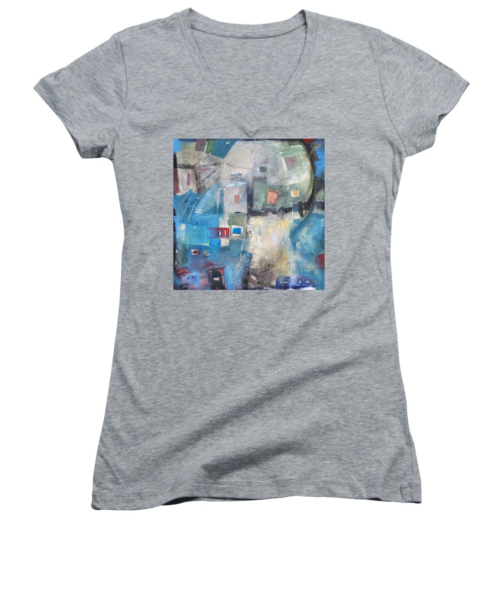 Abstract Women's V-Neck T-Shirt featuring the painting Bayer Works Wonders by Tim Nyberg
