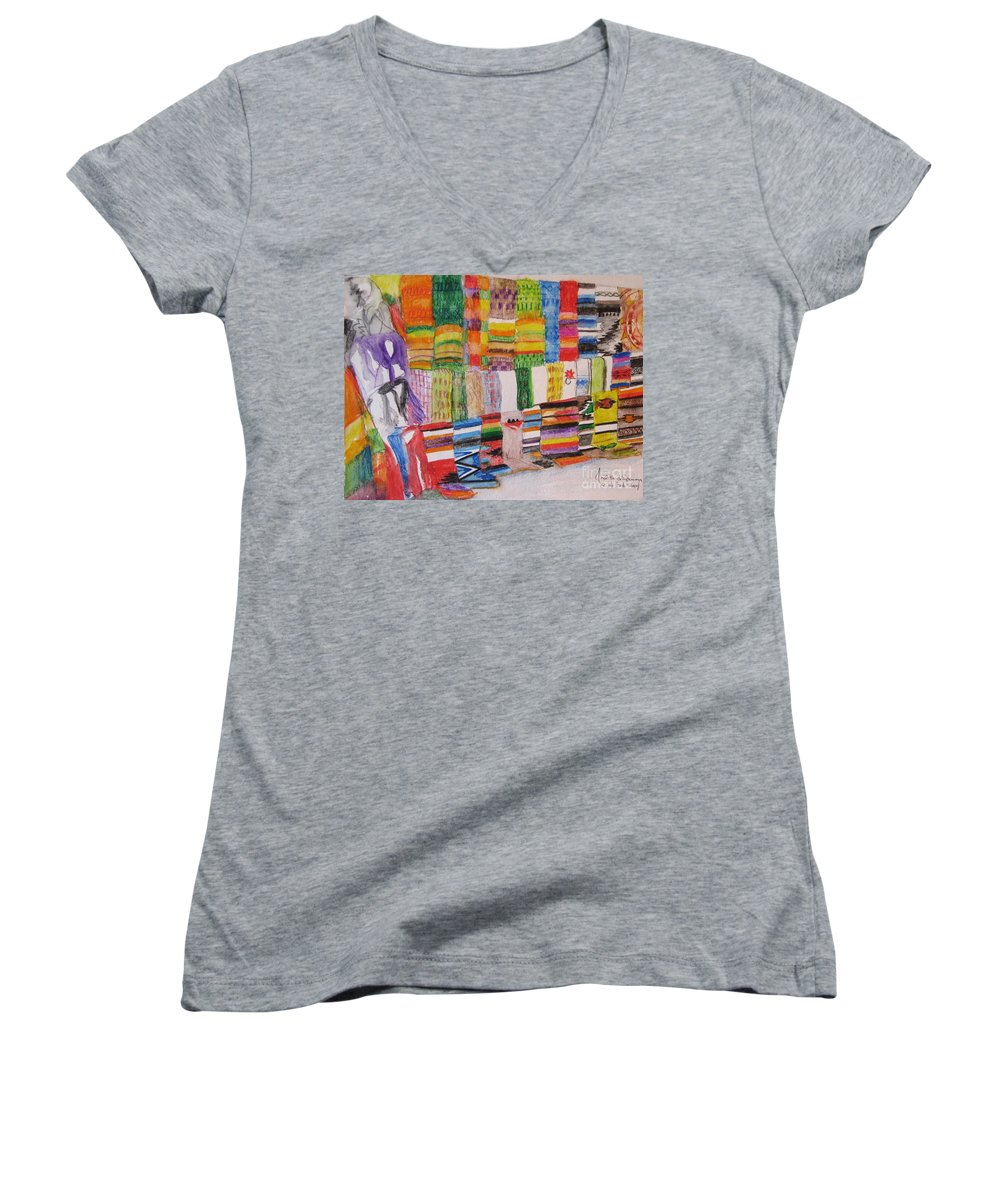 Bright Colors Women's V-Neck (Athletic Fit) featuring the painting Bazaar Sabado - Gifted by Judith Espinoza
