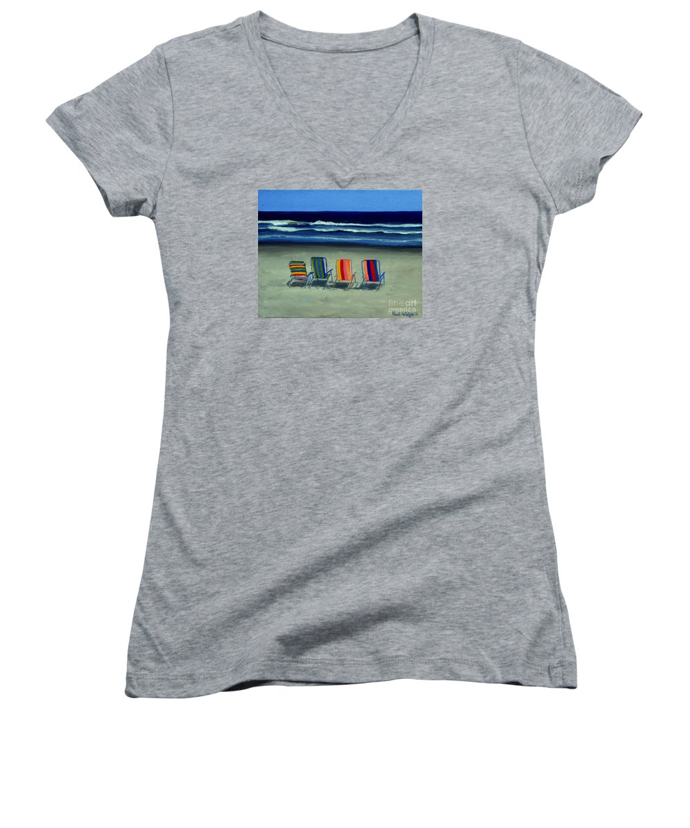 Beach Women's V-Neck (Athletic Fit) featuring the painting Beach Chairs by Paul Walsh