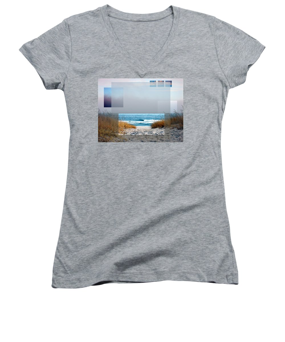 Beach Women's V-Neck T-Shirt featuring the photograph Beach Collage by Steve Karol