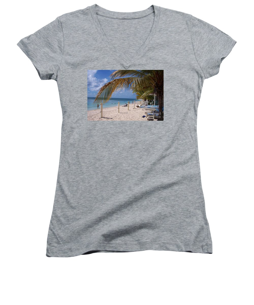 Beach Women's V-Neck (Athletic Fit) featuring the photograph Beach Grand Turk by Debbi Granruth