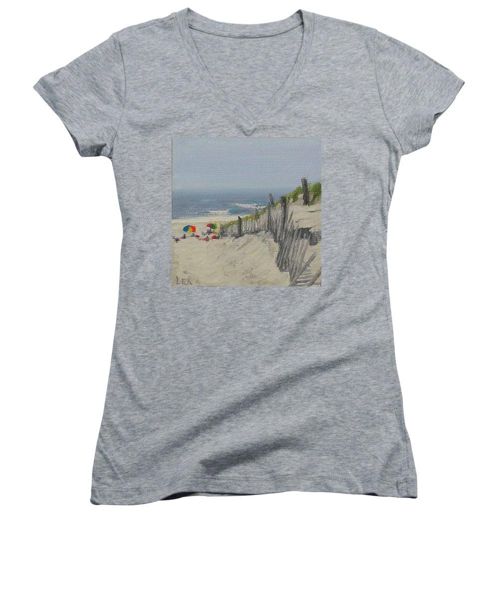 Beach Women's V-Neck T-Shirt featuring the painting Beach Scene Miniature by Lea Novak