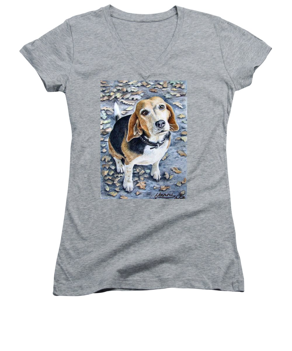 Dog Women's V-Neck T-Shirt featuring the painting Beagle Nanni by Nicole Zeug
