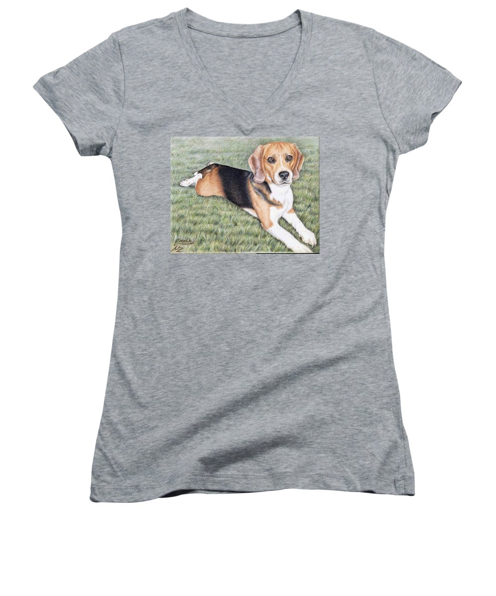 Dog Women's V-Neck T-Shirt featuring the drawing Beagle by Nicole Zeug