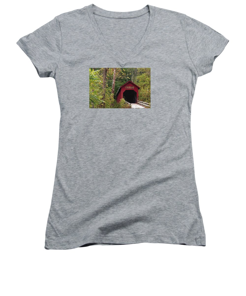 Covered Bridge Women's V-Neck T-Shirt featuring the photograph Bean Blossom Bridge I by Margie Wildblood