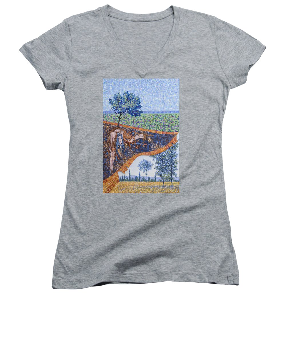 Canvas Women's V-Neck T-Shirt featuring the painting Behind The Canvas by Judy Henninger