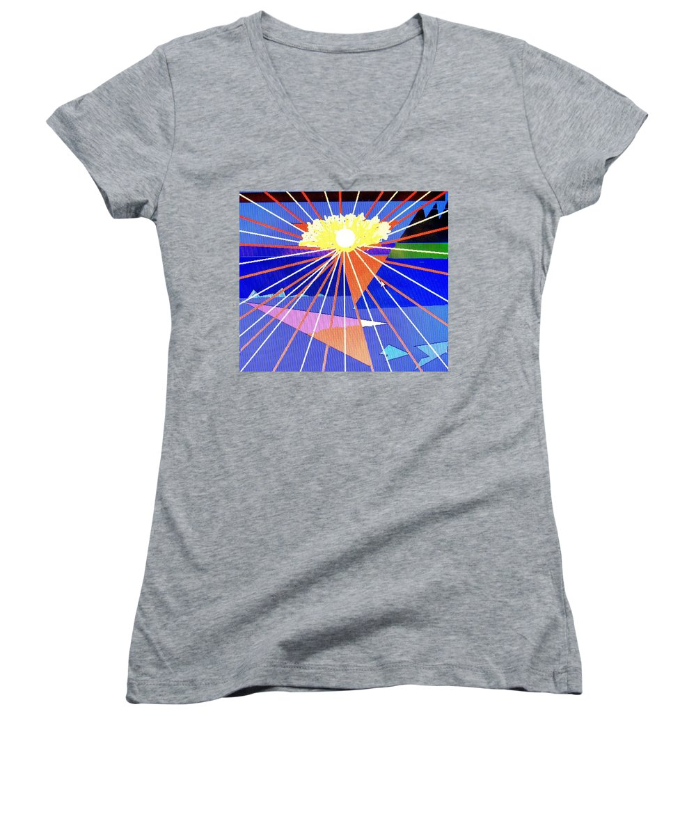 Sunset Women's V-Neck (Athletic Fit) featuring the digital art Bermuda Sunset by Ian MacDonald