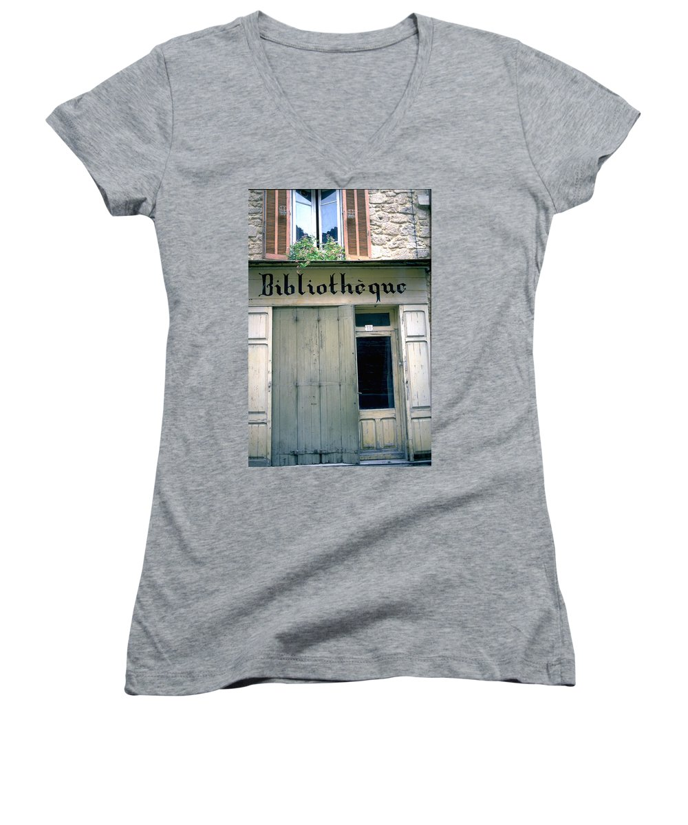 Bibliotheque Women's V-Neck T-Shirt featuring the photograph Bibliotheque by Flavia Westerwelle