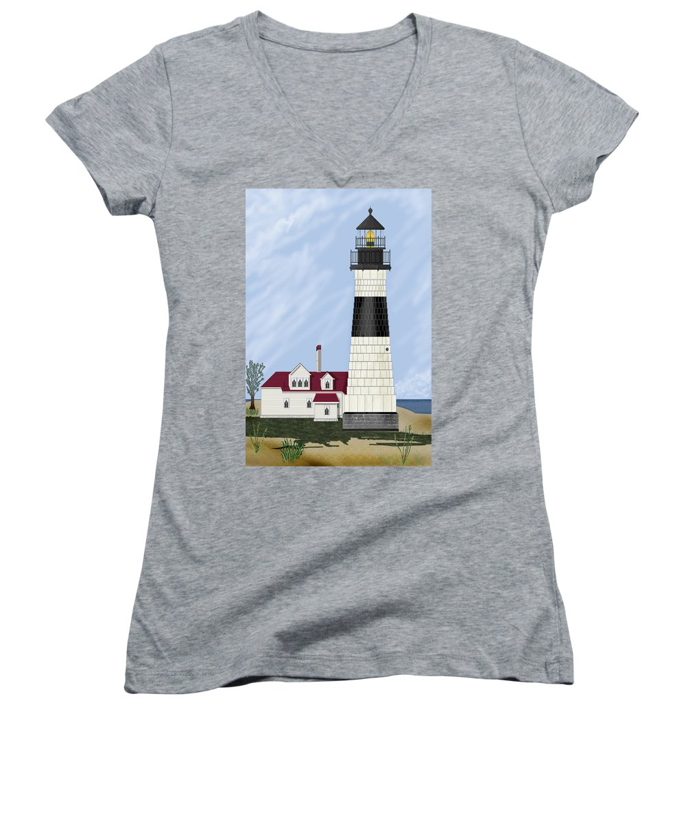 Big Sable Michigan Lighthouse Women's V-Neck (Athletic Fit) featuring the painting Big Sable Michigan by Anne Norskog