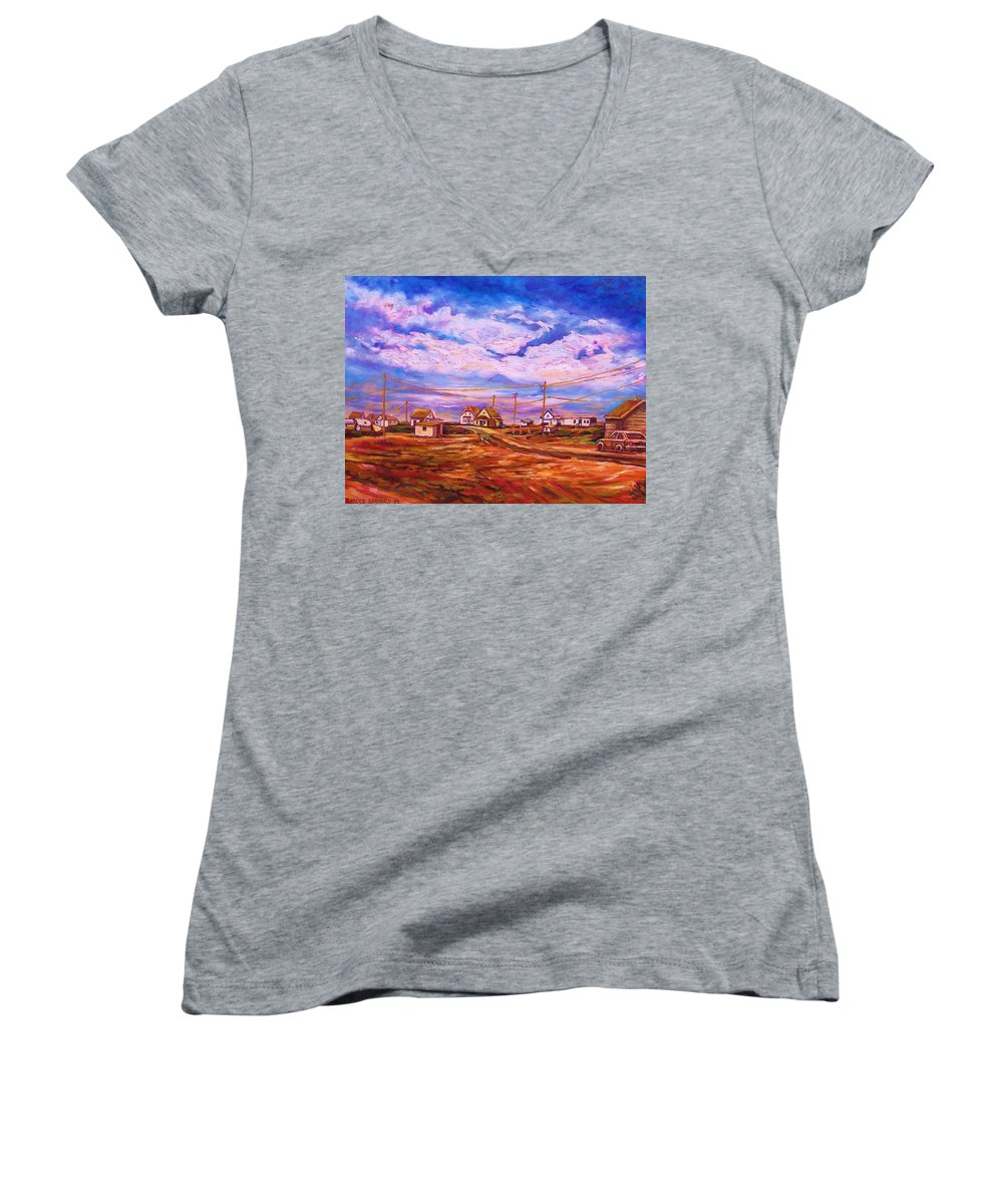 Cloudscapes Women's V-Neck T-Shirt featuring the painting Big Sky Red Earth by Carole Spandau
