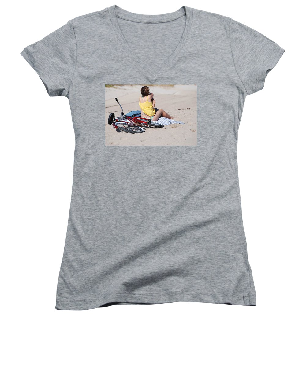 Red Women's V-Neck (Athletic Fit) featuring the photograph Bike On The Beach by Rob Hans
