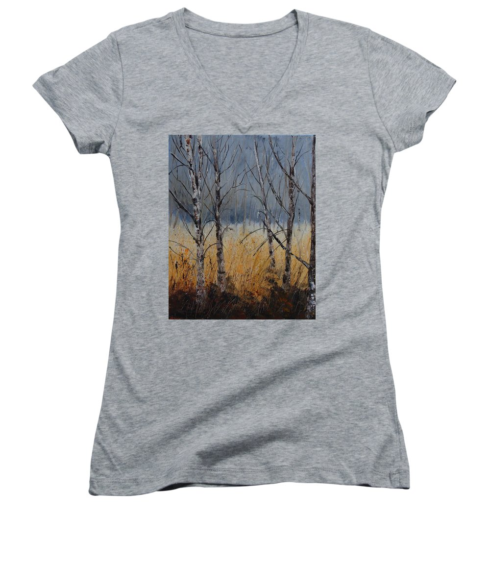 Winter Women's V-Neck (Athletic Fit) featuring the painting Birch Trees by Pol Ledent