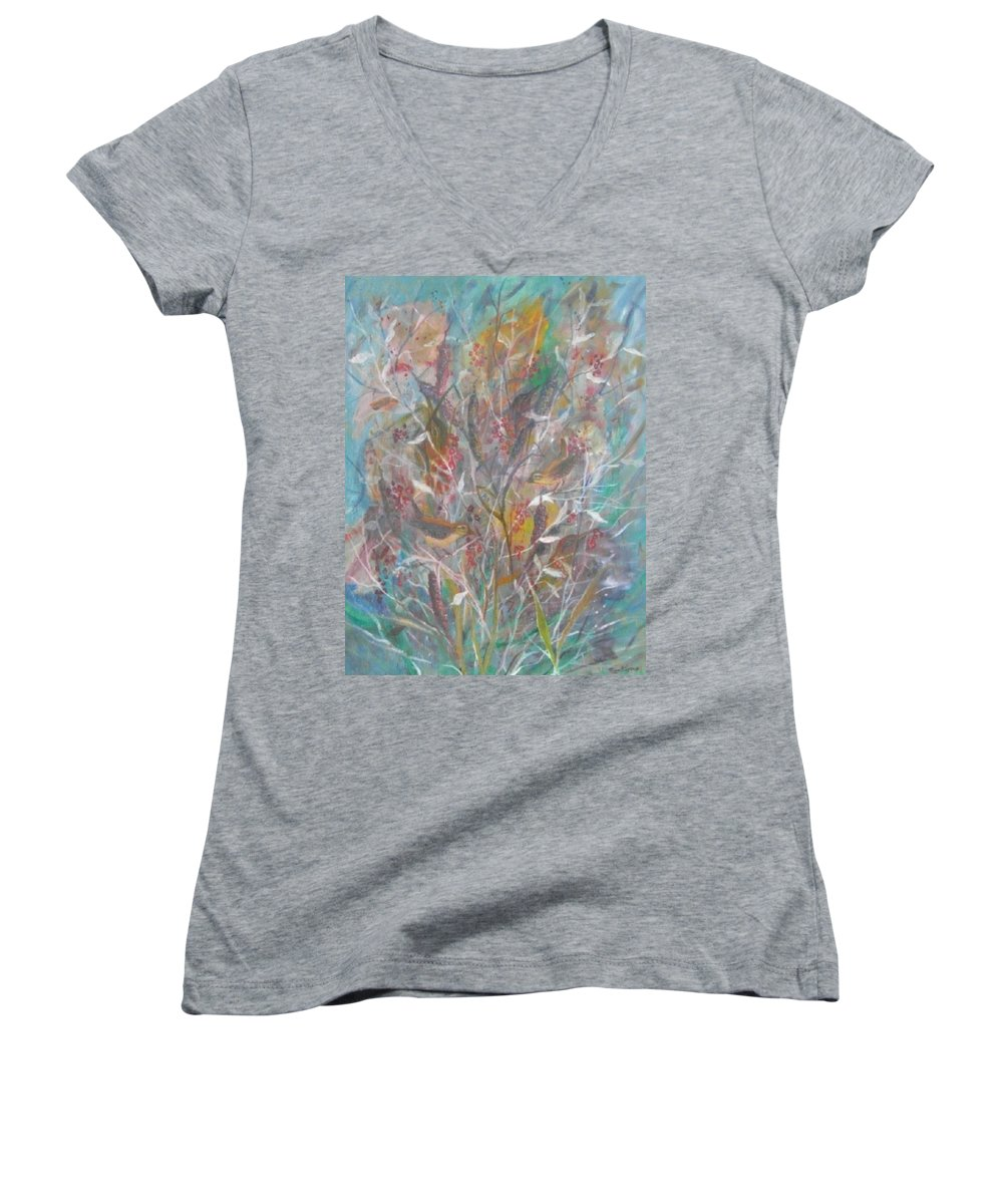 Birds Women's V-Neck T-Shirt featuring the painting Birds In A Bush by Ben Kiger