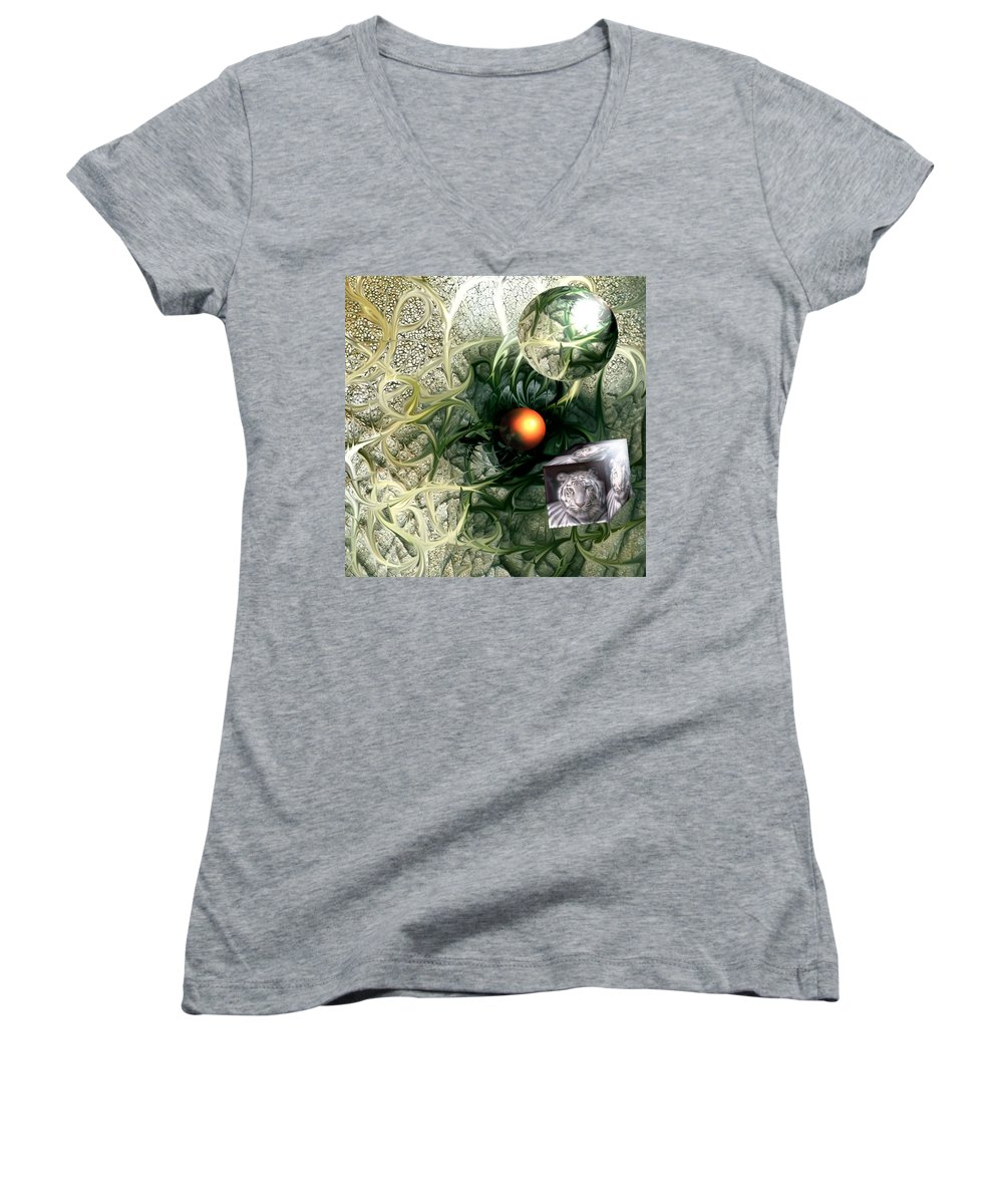 Abstract Nature Red Birth Tiger Spheres Wire Women's V-Neck T-Shirt featuring the digital art Birth by Veronica Jackson