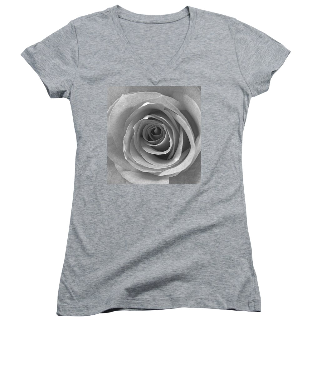 Rose Pedals Women's V-Neck T-Shirt featuring the photograph Black And White by Luciana Seymour