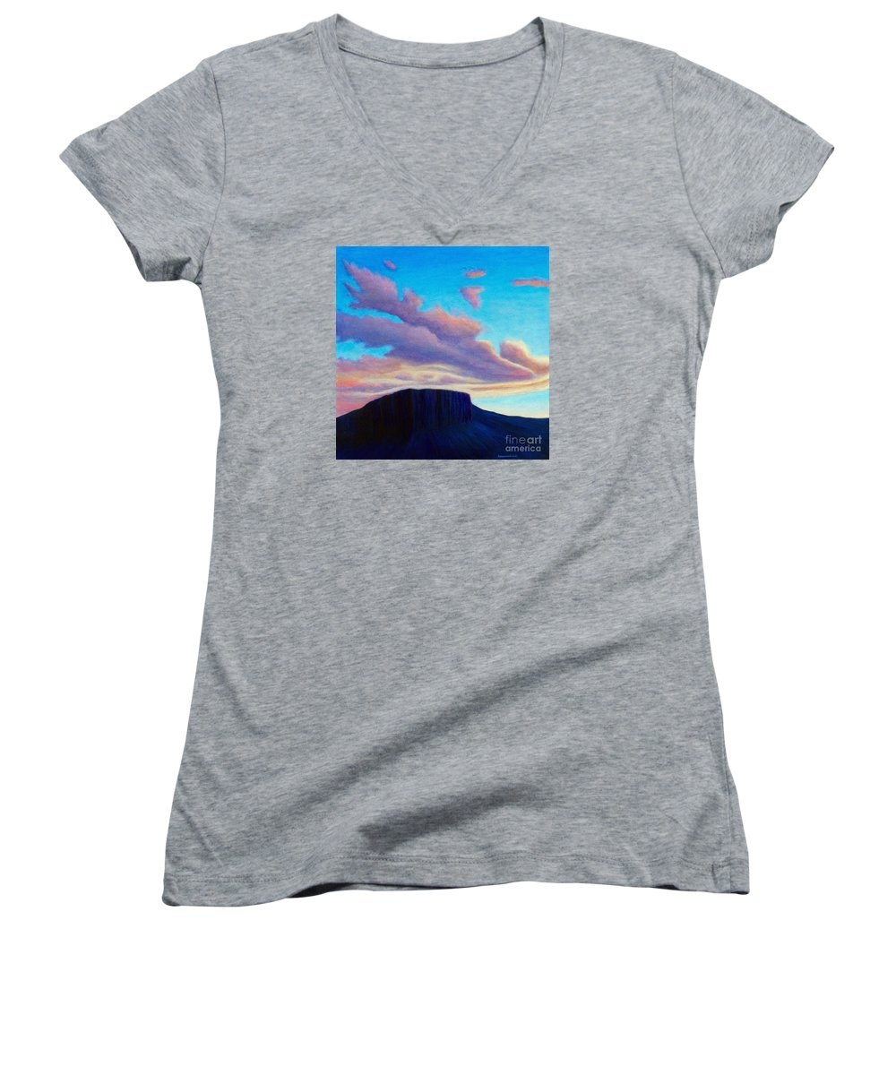 Landscape Women's V-Neck T-Shirt featuring the painting Black Mesa Sunset by Brian Commerford