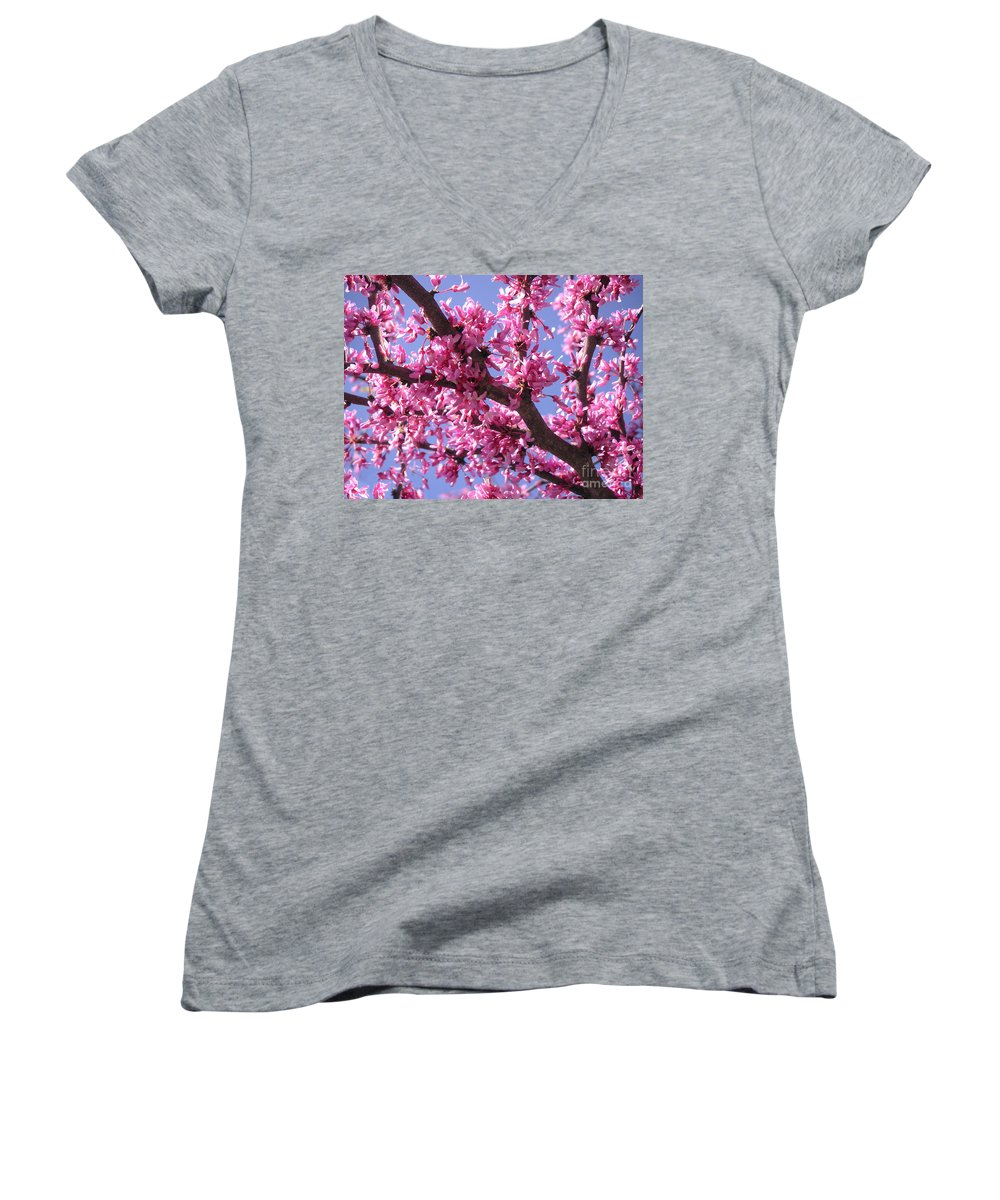 Nature Women's V-Neck T-Shirt featuring the photograph Blooming Red Buds by Lucyna A M Green