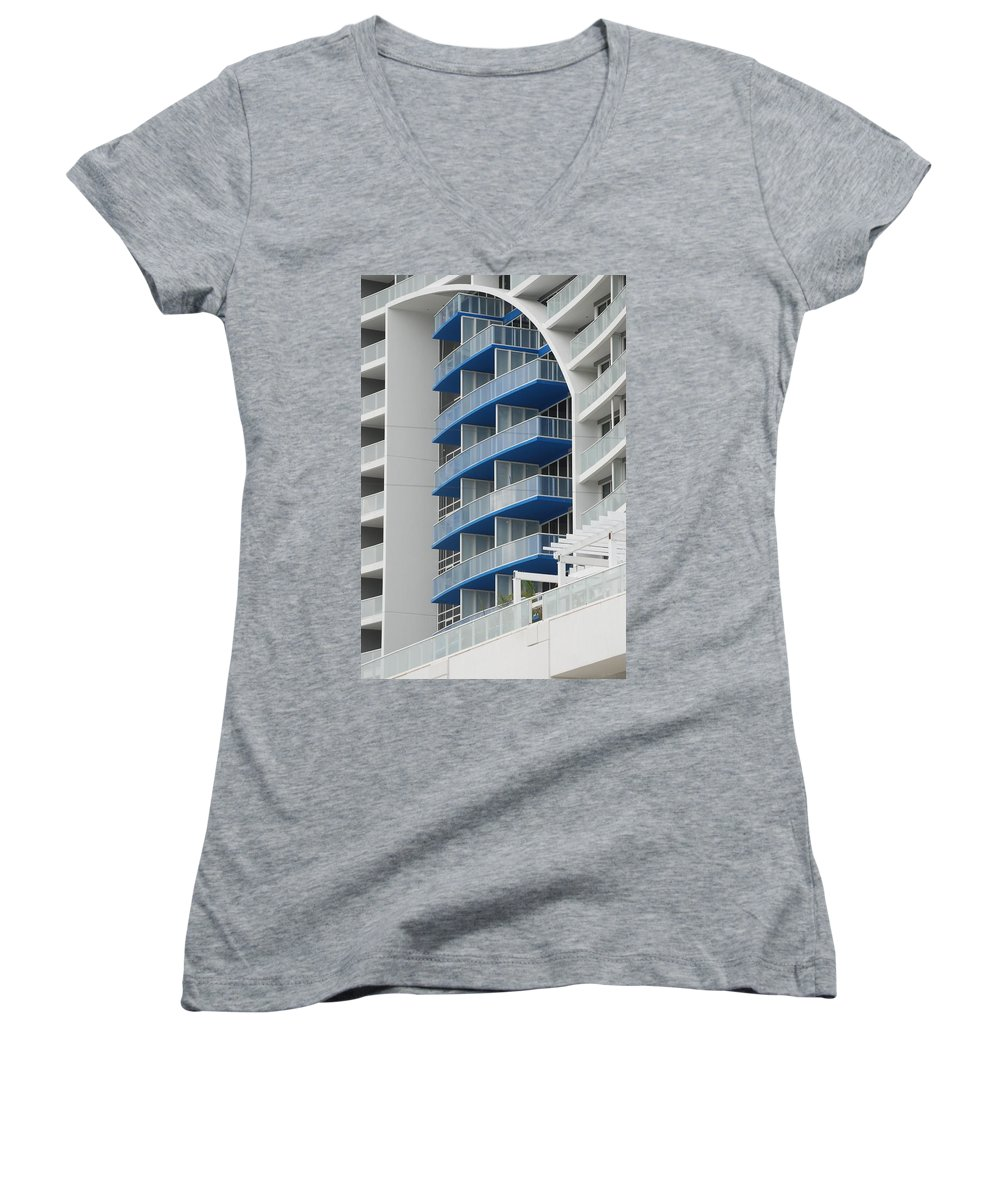 Architecture Women's V-Neck (Athletic Fit) featuring the photograph Blue Bayu by Rob Hans