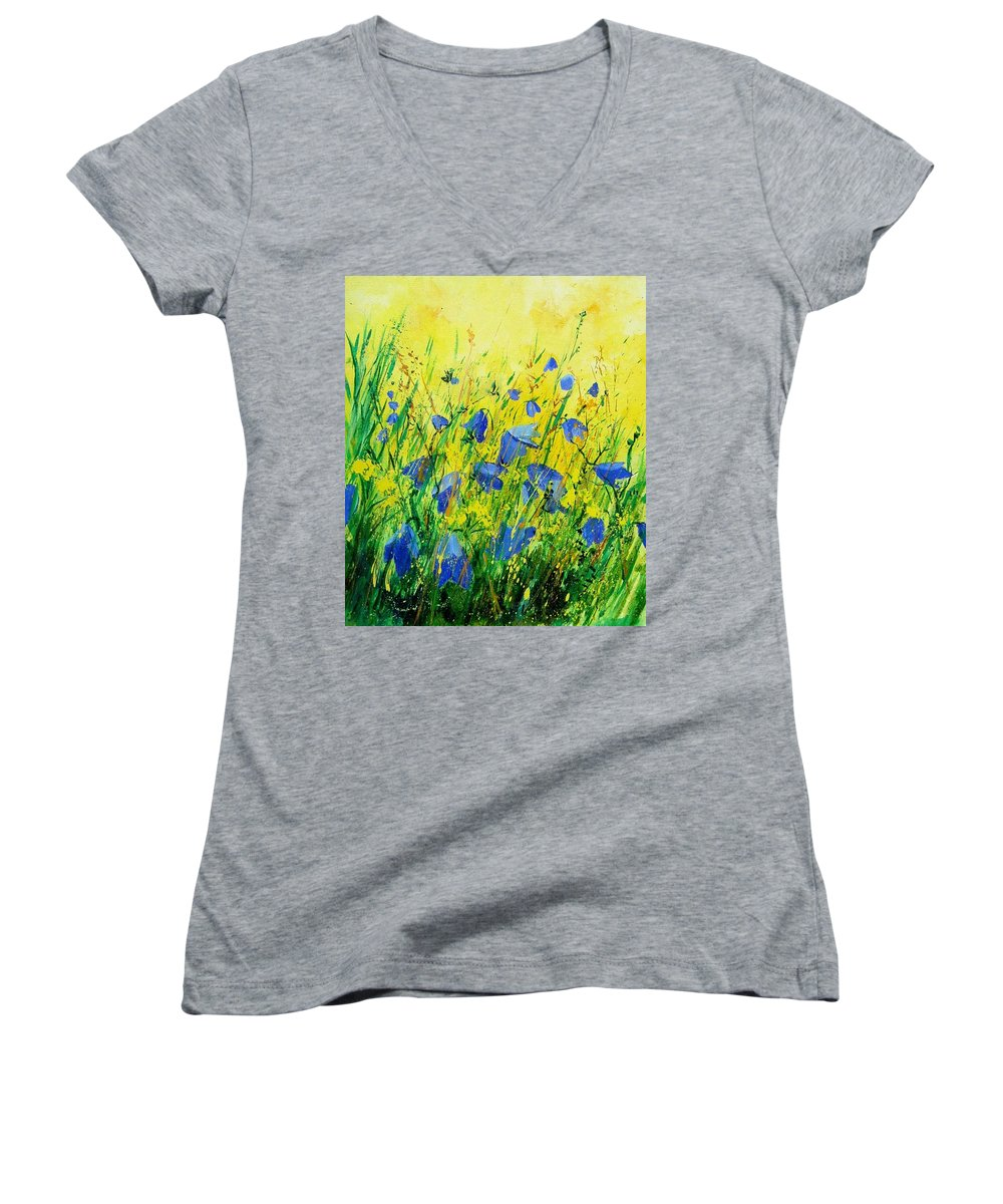 Poppies Women's V-Neck (Athletic Fit) featuring the painting Blue Bells by Pol Ledent