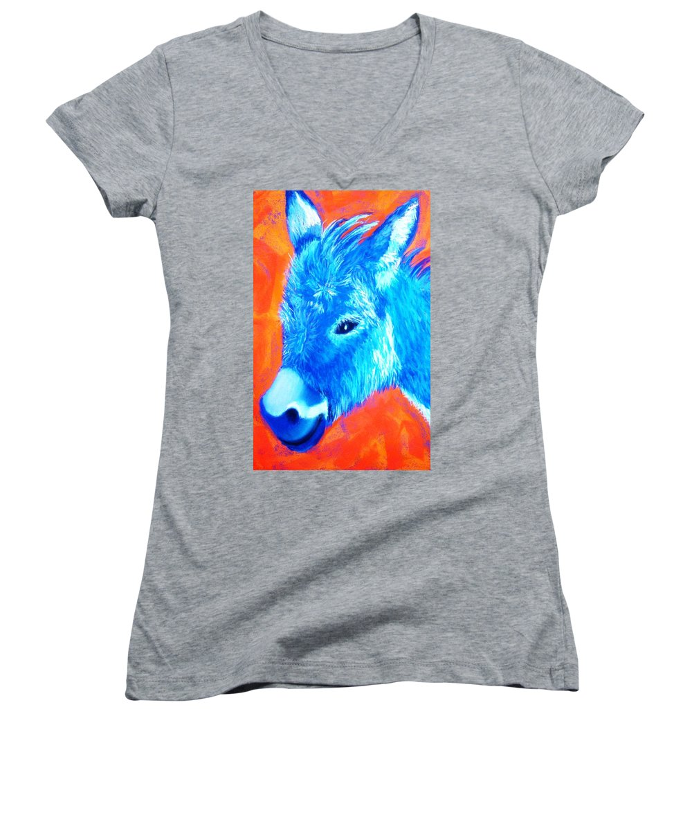 Burro Women's V-Neck T-Shirt featuring the painting Blue Burrito by Melinda Etzold